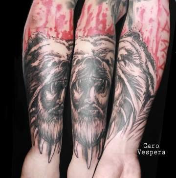 tatouage trash polka noir rouge Caro Vespera Montpellier