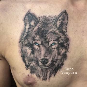 tattoo tatouage loup wolf - Caro Vespera