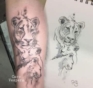 tatouage aquarelle croquis à Montpellier- Caro Vespera